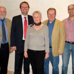 v.l.n.r. Dietmar Danz, Folke große Deters, Hanni Birnfeld, Jürgen Lüdemann, Michael Rohloff